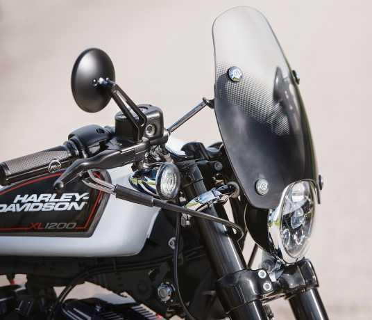 Harley-Davidson Gewölbte Billet Spiegel matt schwarz  - 92423-08A