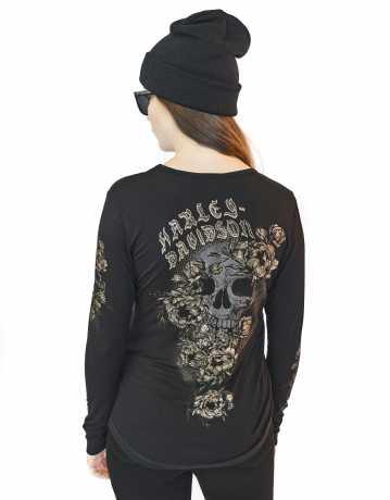 H-D Motorclothes Harley-Davidson Women's Longsleeve Mesh Yoke Skull & Roses  - 96321-20VW