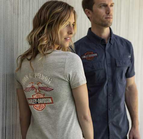 H-D Motorclothes Harley-Davidson Damen T-Shirt Iron & Freedom Heathered Pale Khaki  - 96893-19VW
