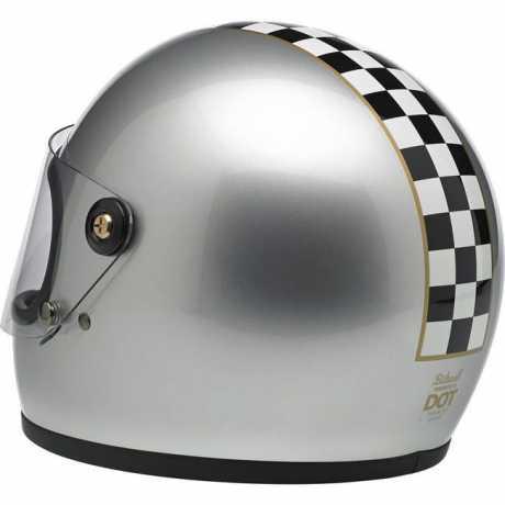 Biltwell Biltwell Gringo S Helm Limited Edition Checker Metallic Silver DOT  - 60-7395V