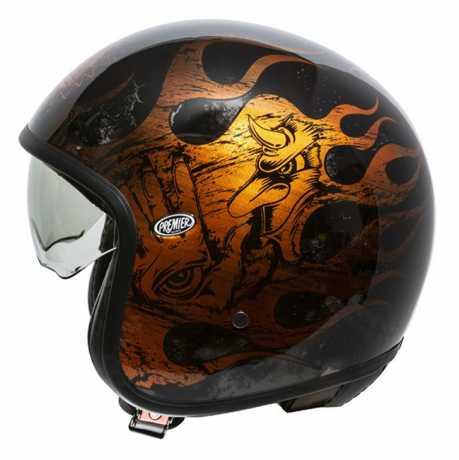 Premier Helmets Premier Vintage Jethelmet BD orange & chromed  - PR9VIN78V