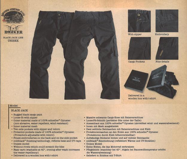 rokker cargo hose black jack loose fit im thunderbike shop. Black Bedroom Furniture Sets. Home Design Ideas