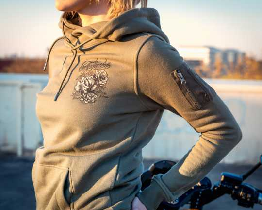 Thunderbike Clothing Thunderbike women´s Hoodie Grunge Skull Olive  - 19-10-1134V