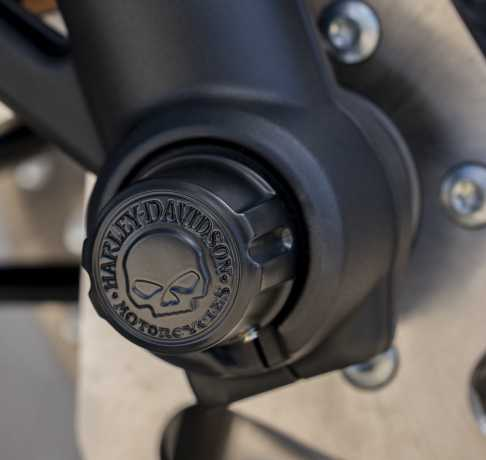 Harley-Davidson Front Axle Nut Covers Willie G. Skull black  - 43000096