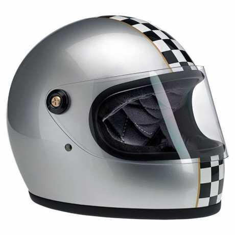 Biltwell Biltwell Gringo S Helm LE Checker, silber metallic DOT  - 89-2390V