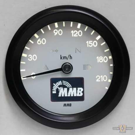 MMB MMB ELT60 Basic Tacho schwarz & weiße Faceplate, 0-220 km/h  - 91-1648