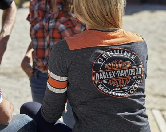 H-D Motorclothes Harley-Davidson Damen Henley Shirt Genuine Oil Can XL - 99070-18VW/002L