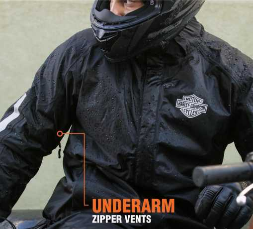 H-D Motorclothes Harley-Davidson Men's Rain Jacket Separate, black  - 98191-17VM