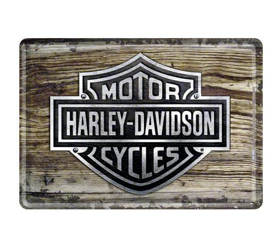 harley davidson blechpostkarte h d wood logo im. Black Bedroom Furniture Sets. Home Design Ideas