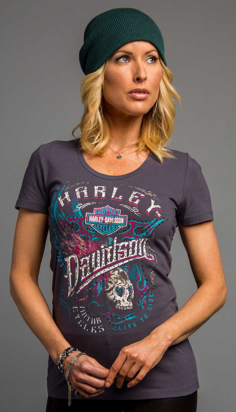 harley davidson damen t shirt loud metal wings im thunderbike shop. Black Bedroom Furniture Sets. Home Design Ideas