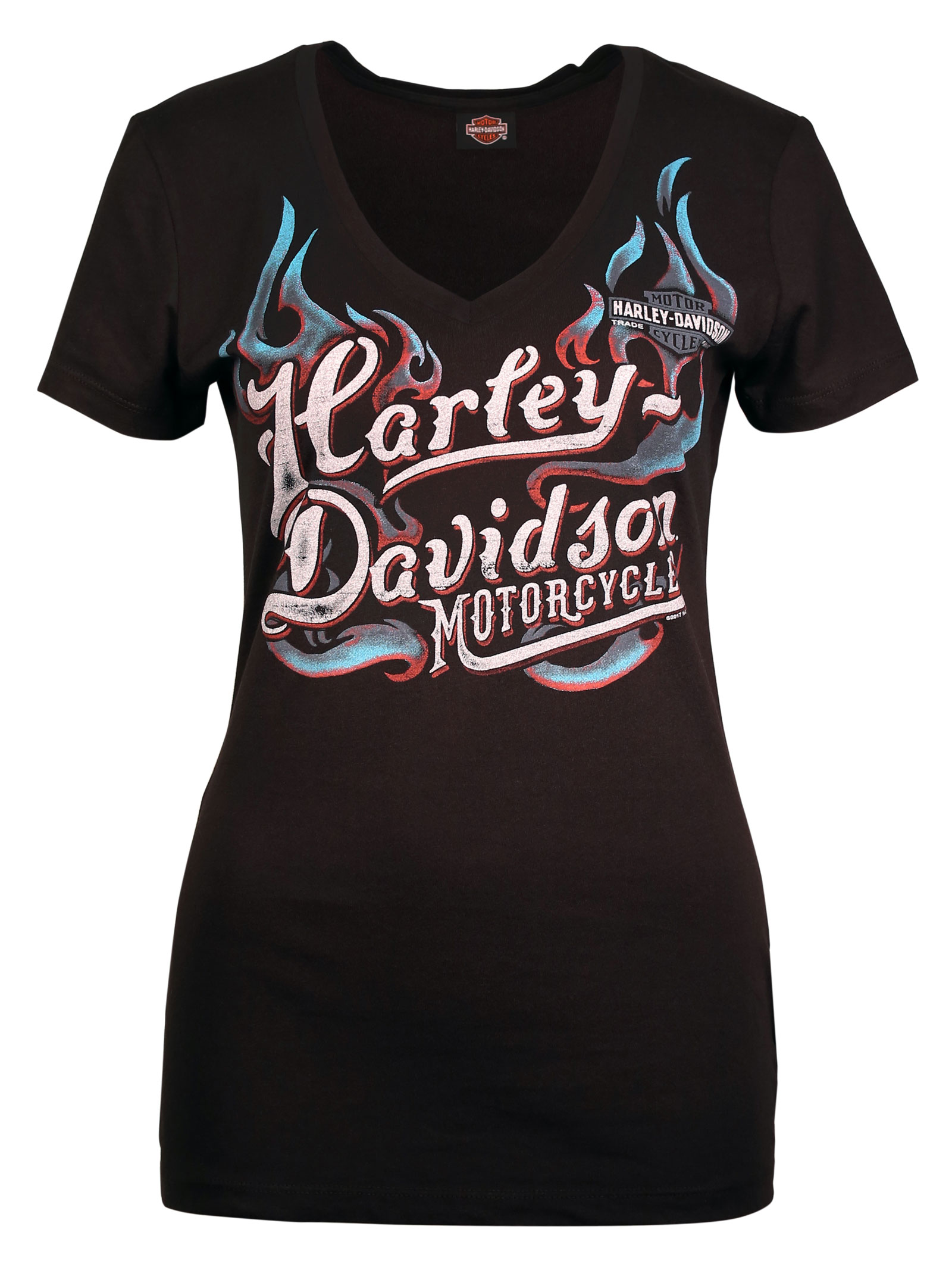 harley davidson women 39 s t shirt chains of fire at. Black Bedroom Furniture Sets. Home Design Ideas
