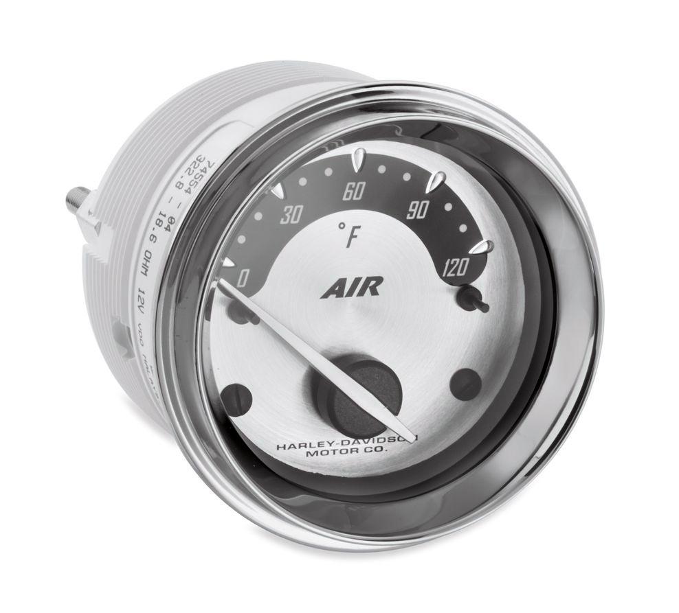 Air temperature gauges with spun aluminum face at