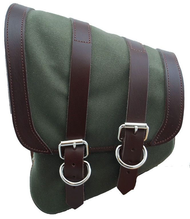 0196e92ac05e LaRosa Canvas Left Side Saddle Bag green for Softail   Rigid at ...