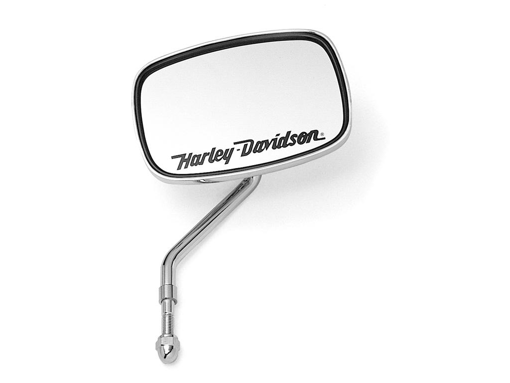 91920 91v h d druckguss spiegel mit harley davidson schriftzug im thunderbike shop. Black Bedroom Furniture Sets. Home Design Ideas