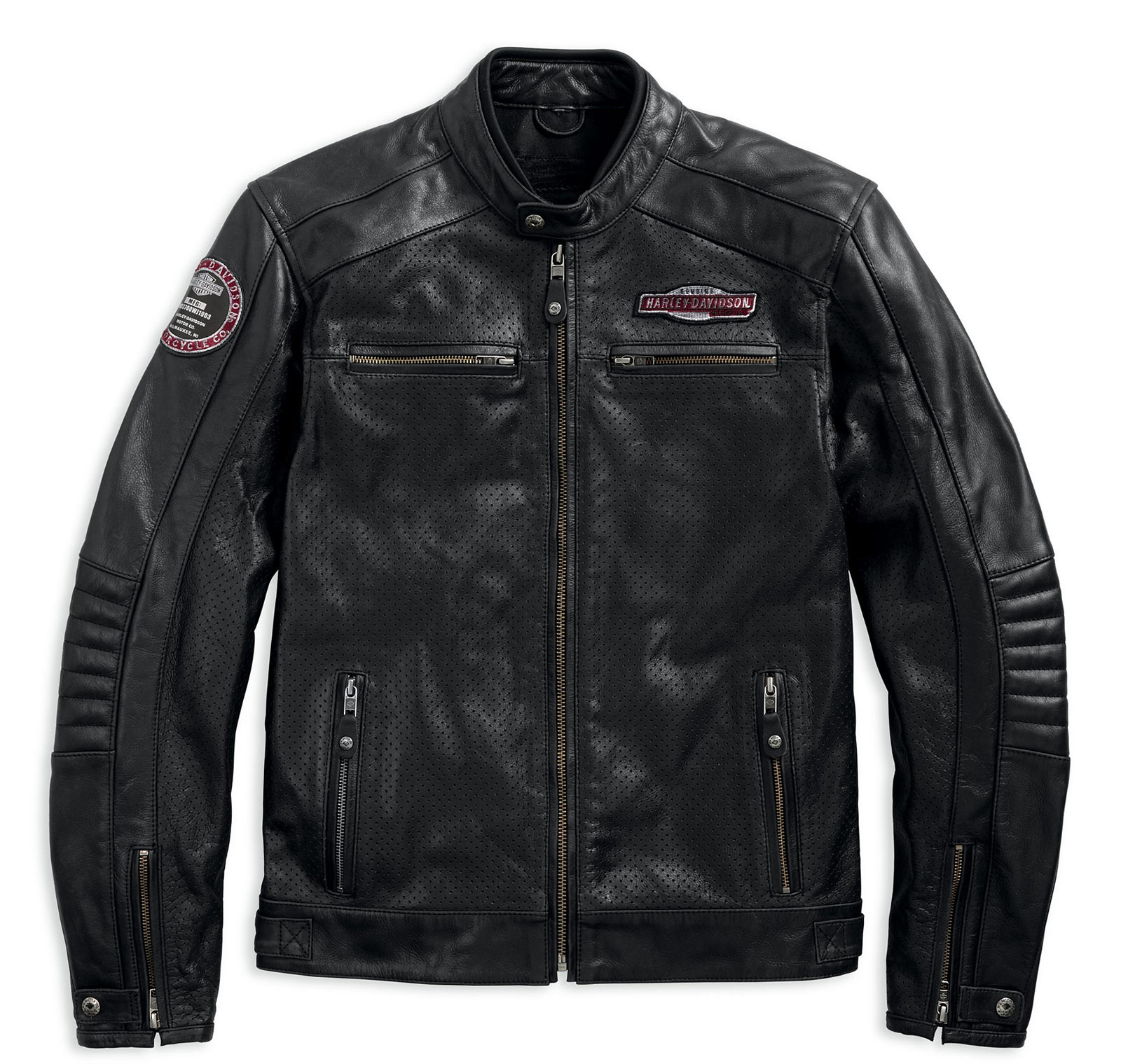 97183 17em harley davidson lederjacke cruiser perforated