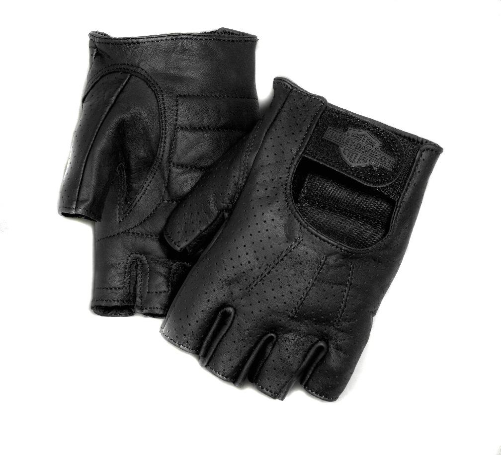 Medium Black Harley-Davidson Official Mens Fingerless Gloves
