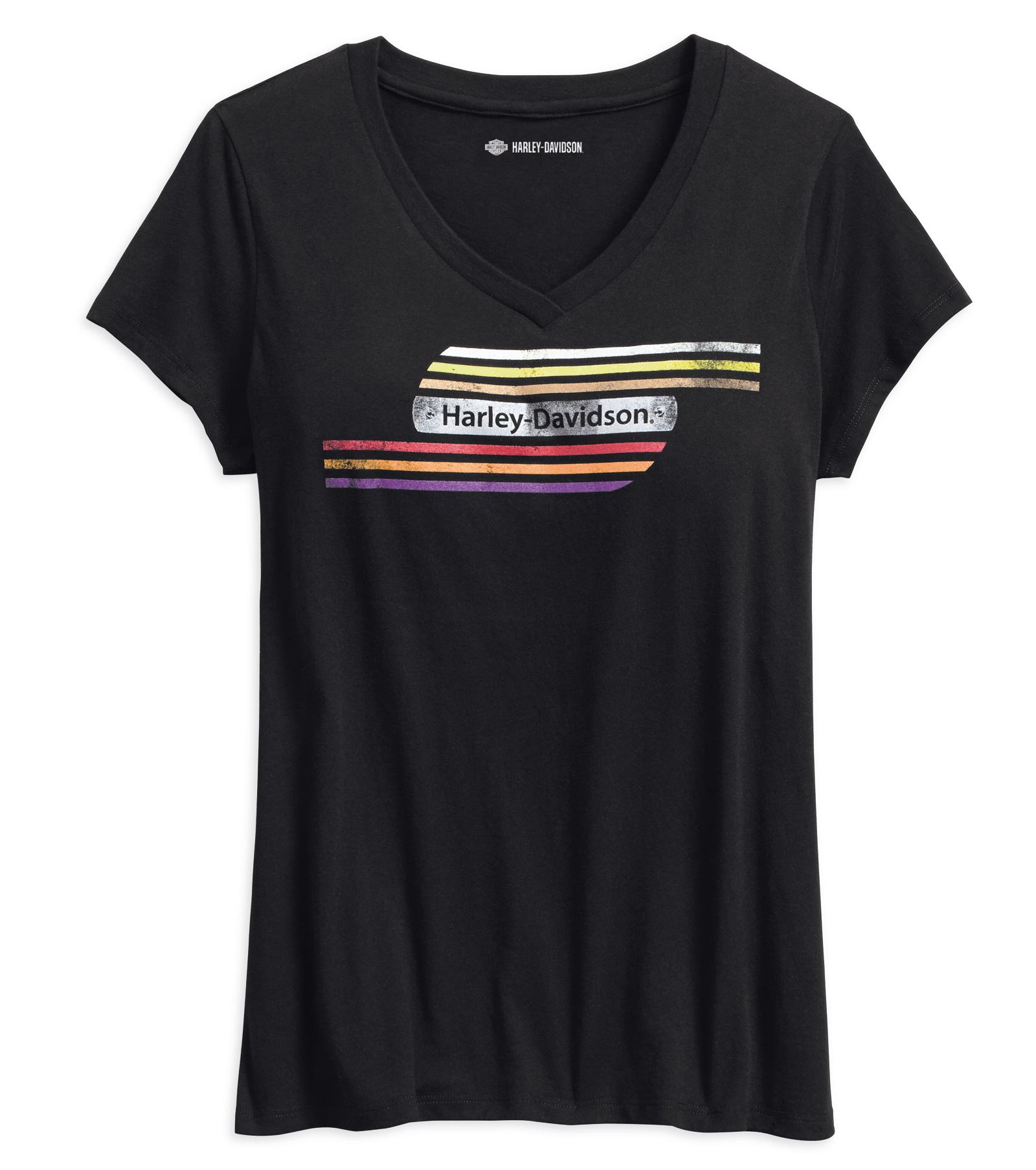 99084 18vw harley davidson damen t shirt amf retro stripe. Black Bedroom Furniture Sets. Home Design Ideas