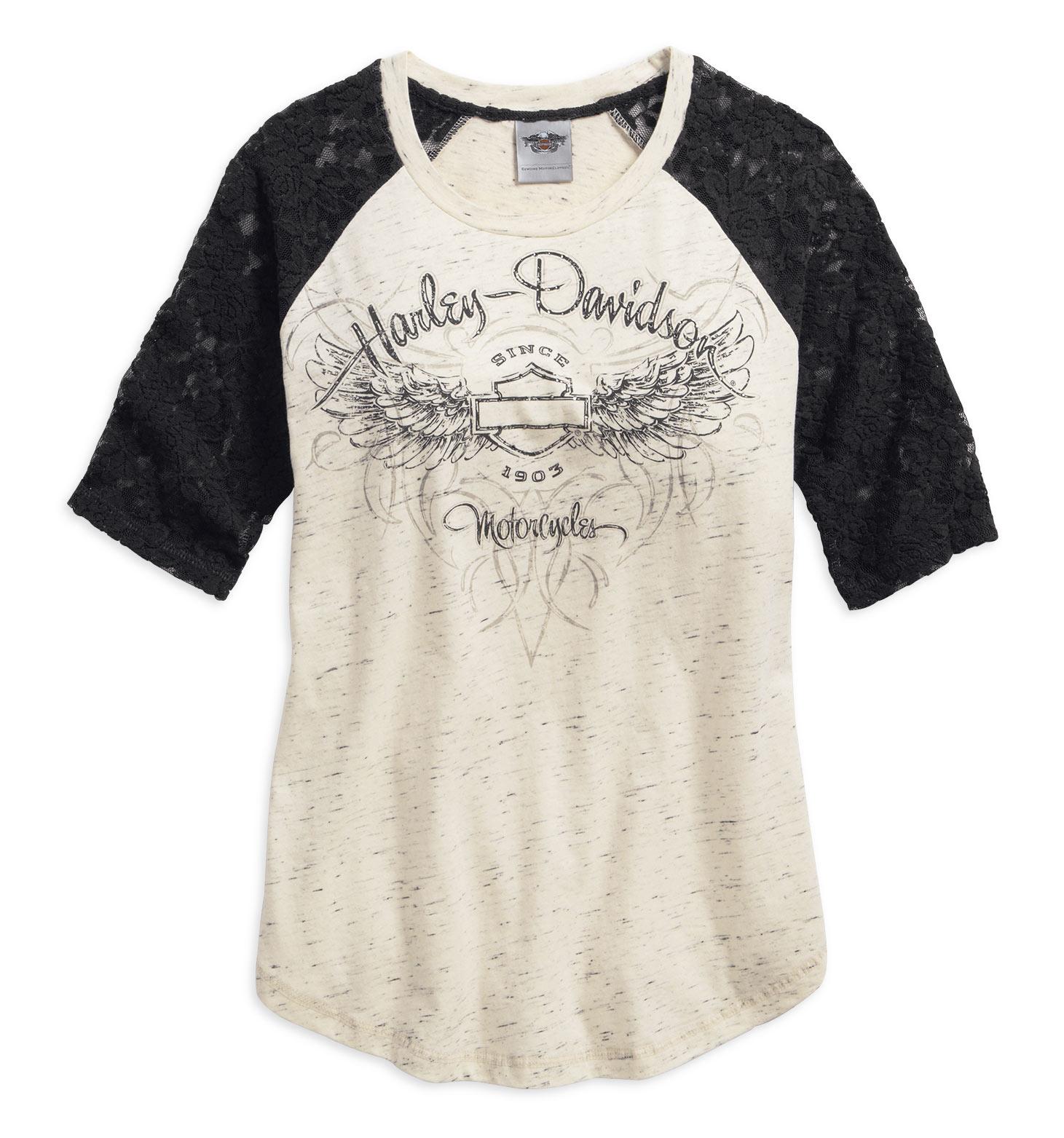 99152 16vw harley davidson damen t shirt lace accent schwarz weiss im thunderbike shop. Black Bedroom Furniture Sets. Home Design Ideas