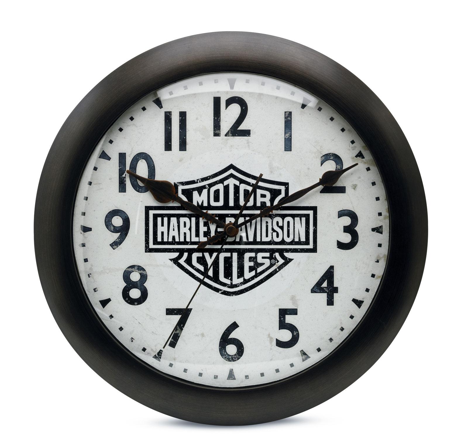 99204 16v harley davidson wanduhr bar shield silent im. Black Bedroom Furniture Sets. Home Design Ideas