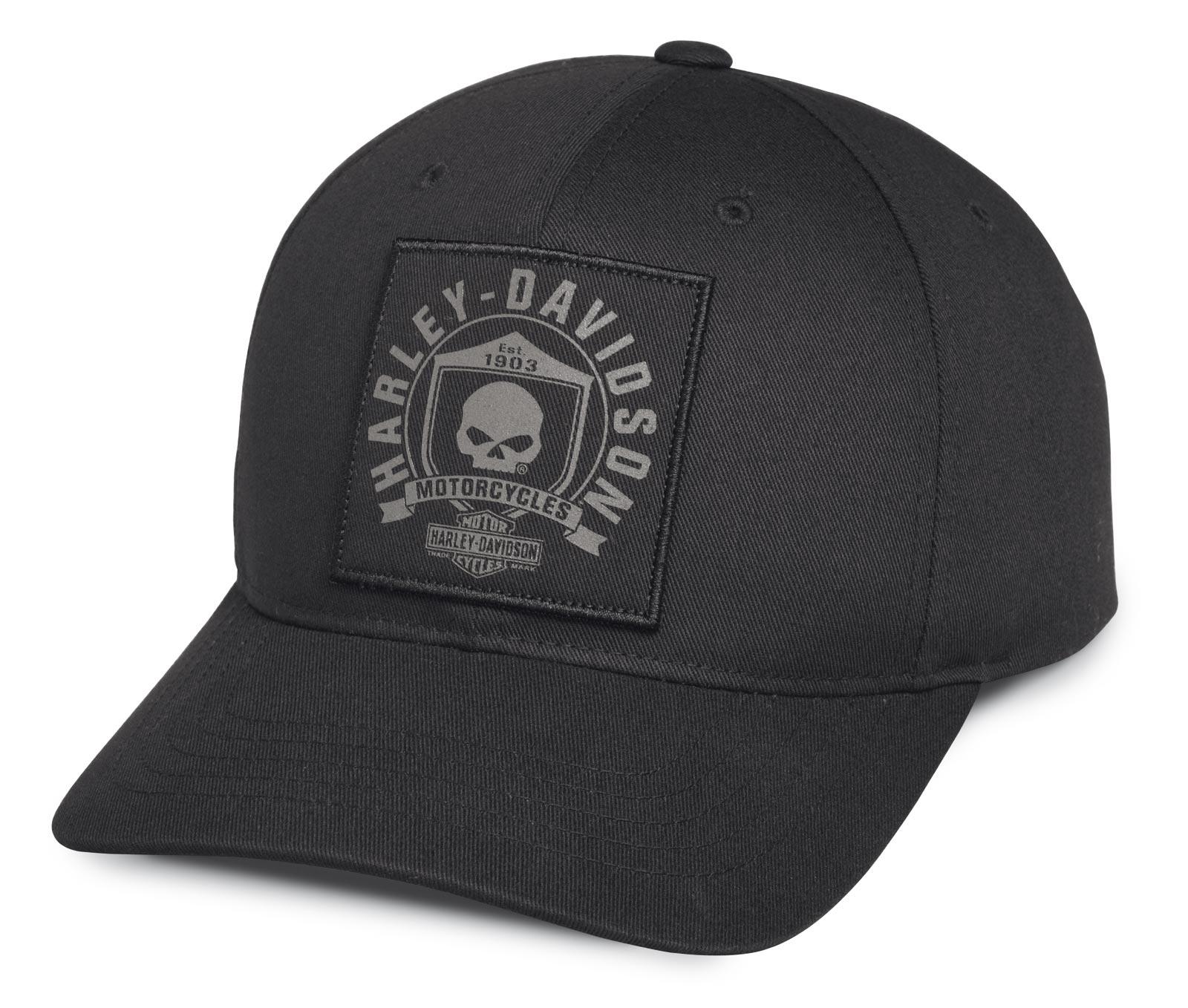 99492 17vm Harley Davidson Men S Skull Shield Patch Cap At