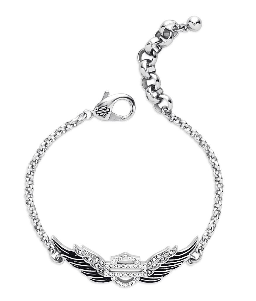 Harley Davidson Charm Bracelet: 99508-15VW Harley-Davidson Bracelet Winged Bar & Shield At