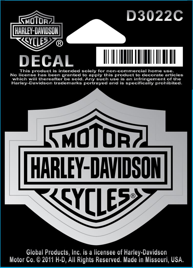 Harley Davidson Aufkleber Bar Shield Chrom Klein