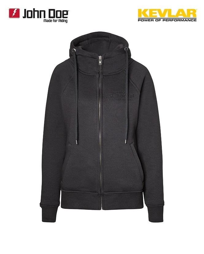 john doe kevlar hoodie damen schwarz im thunderbike shop. Black Bedroom Furniture Sets. Home Design Ideas