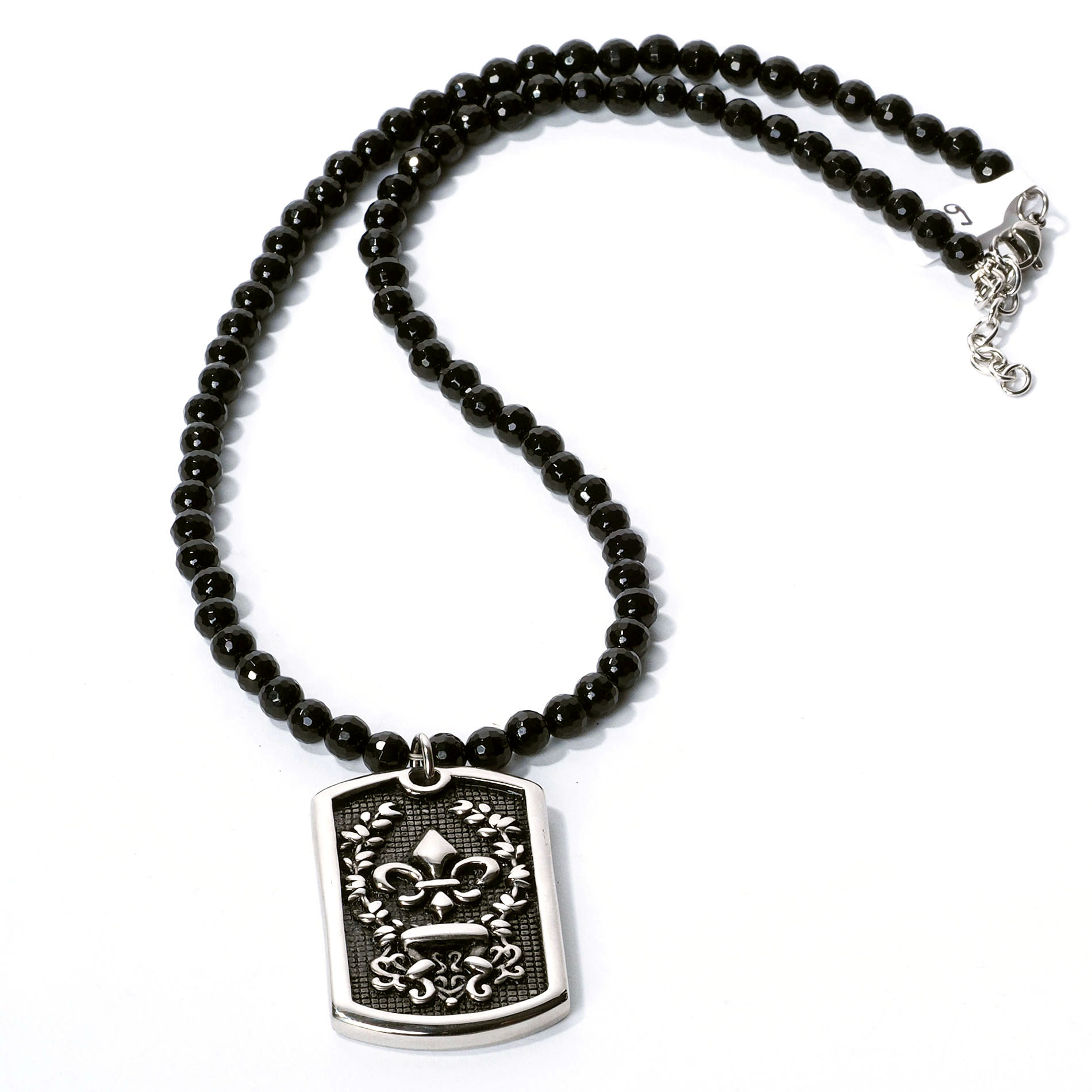 Rad rocks necklace onyx facet plate lilie at thunderbike shop for Irish jewelry stores in nj