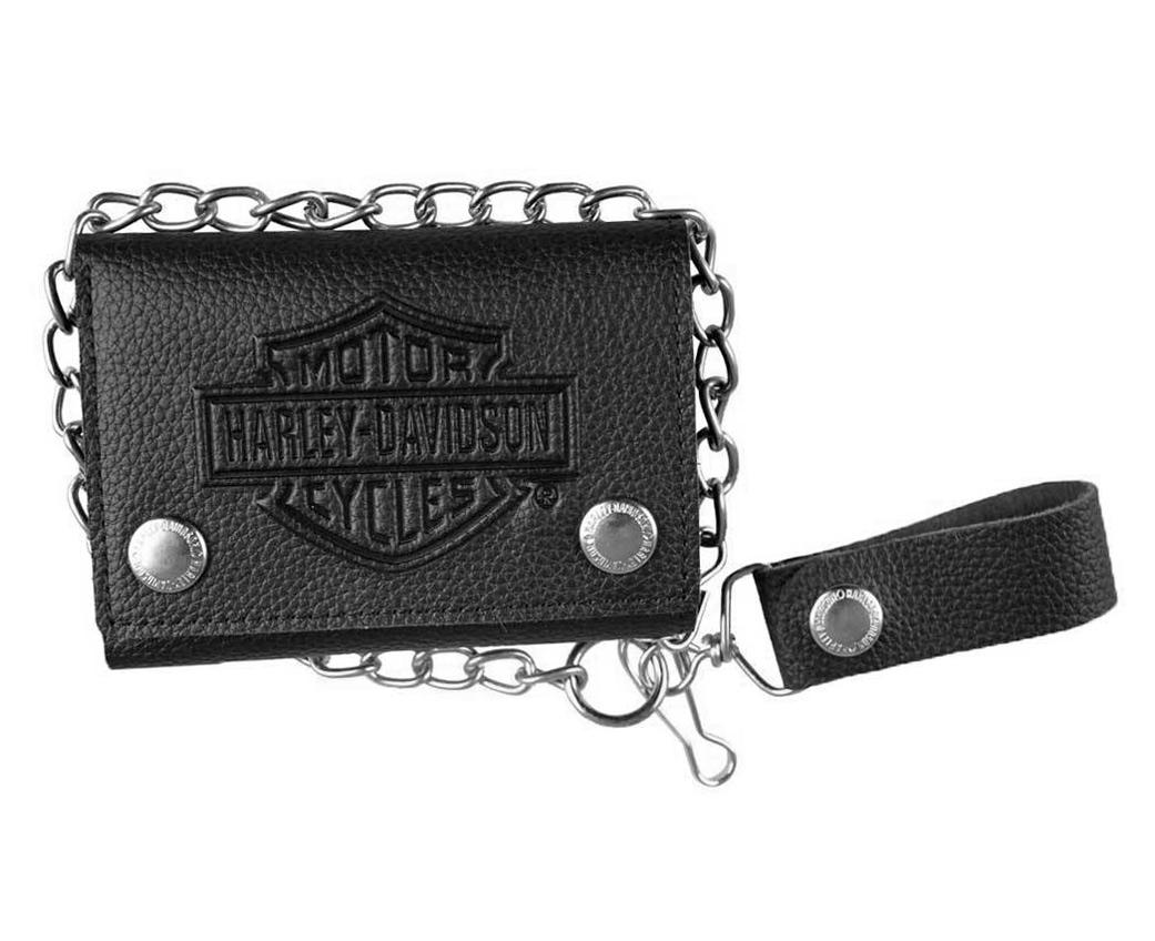Harley-Davidson Men/'s Embossed #1 Logo Medium Trucker Wallet XML3814-BLACK