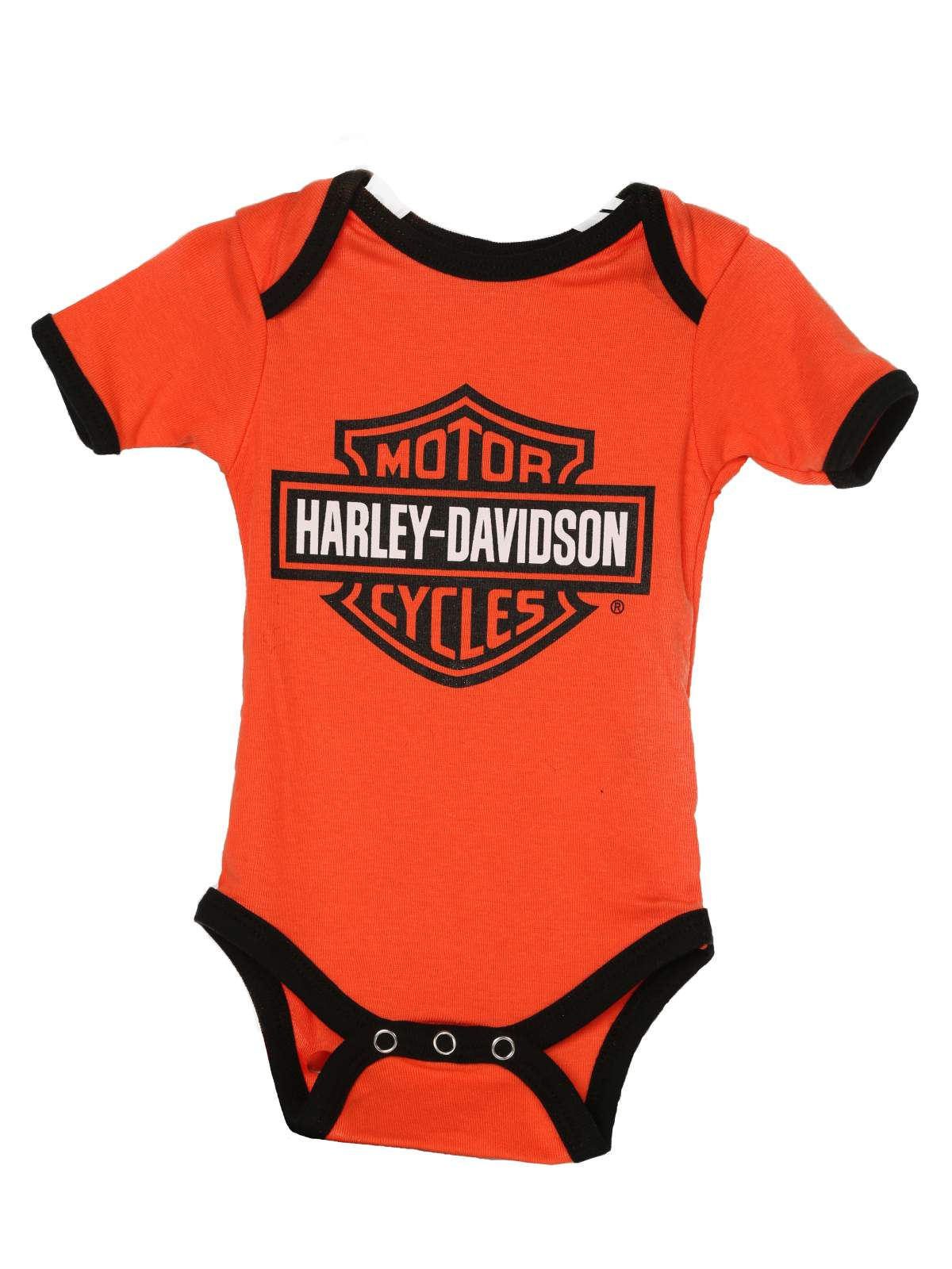 Harley-Davidson Boys Baby Twin Pack Creeper My Daddy Rides a Harley Orange