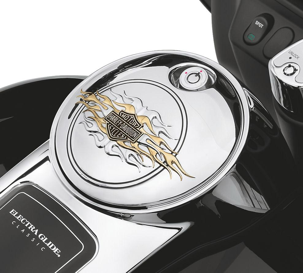61359 98 Flames Fuel Tank Console Door Gold At Thunderbike