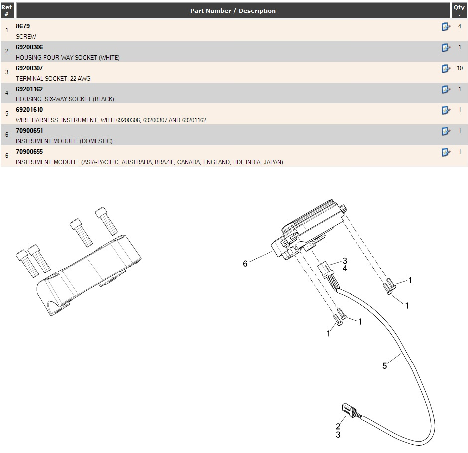 70900651 Harley Davidson Speedo Instrument Module Domestic For Ignition Wiring Harness Explaned