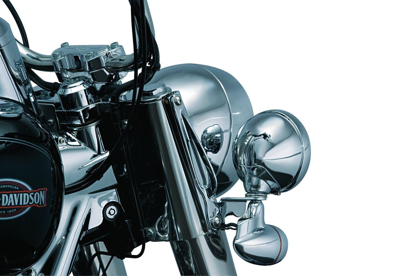 86-16 Kuryakyn Chrome Teardrop Tie-Downs for Harley FL Softail Models pr