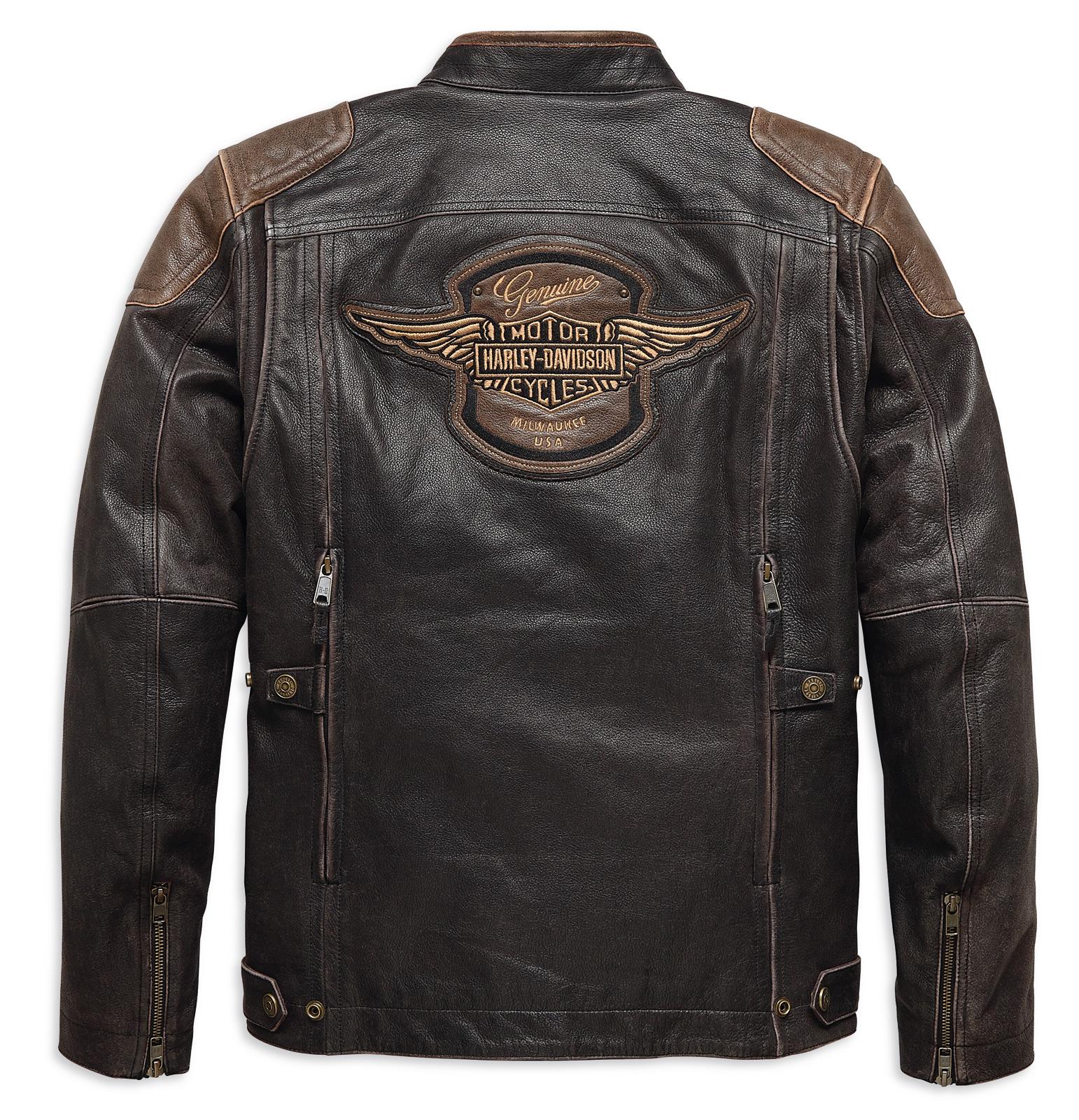 18 18EM Harley Davidson Leather Jacket Trostel Triple Vent ...