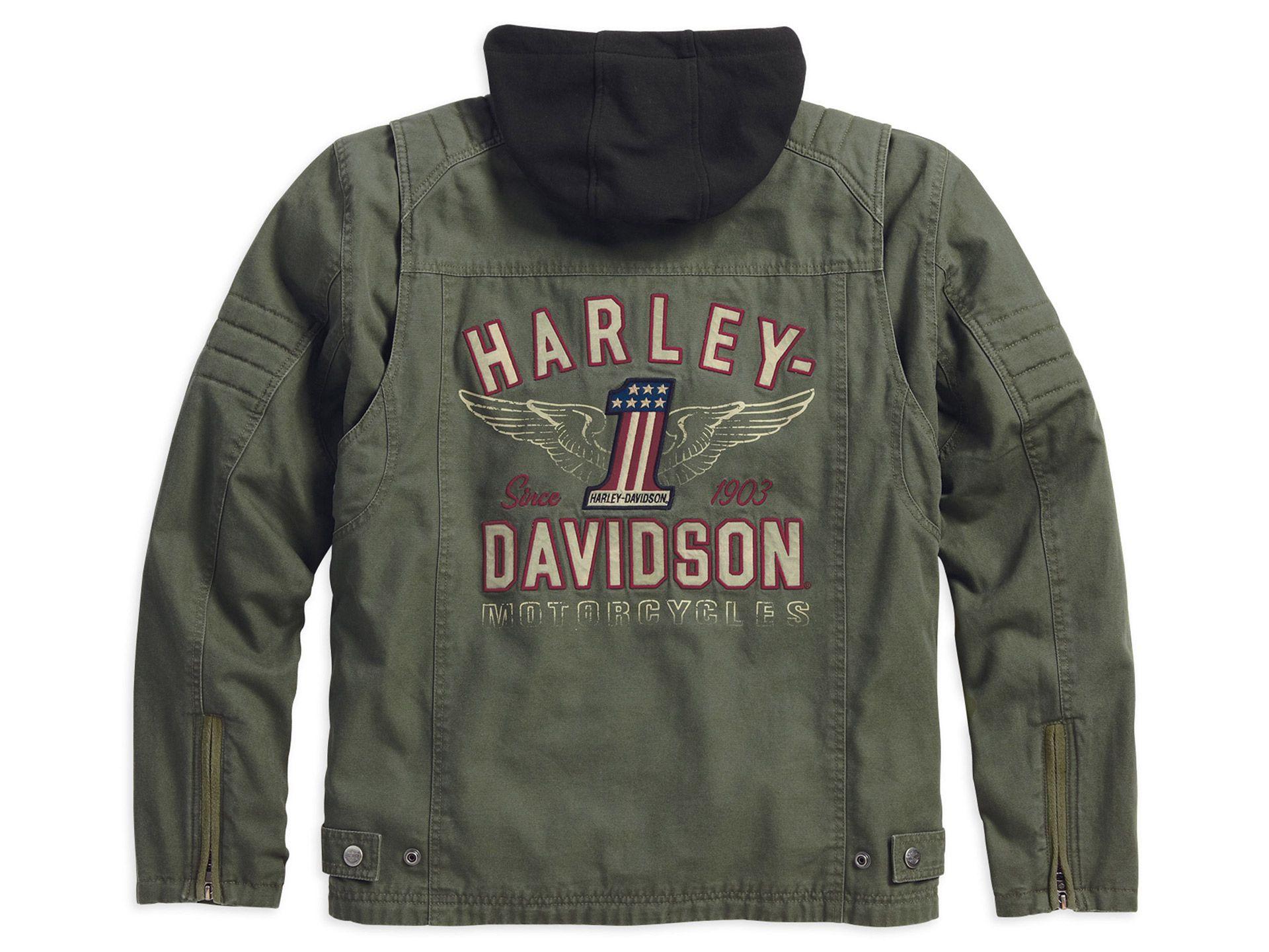 98563 15vm harley davidson jacket long way 3 in 1 green. Black Bedroom Furniture Sets. Home Design Ideas