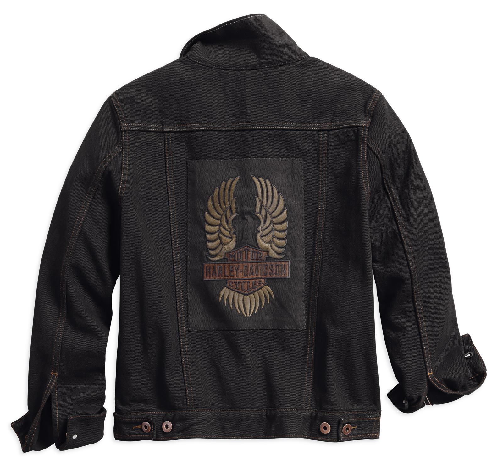 98593 18vw harley davidson damen jeansjacke winged appliqu schwarz im thunderbike shop. Black Bedroom Furniture Sets. Home Design Ideas