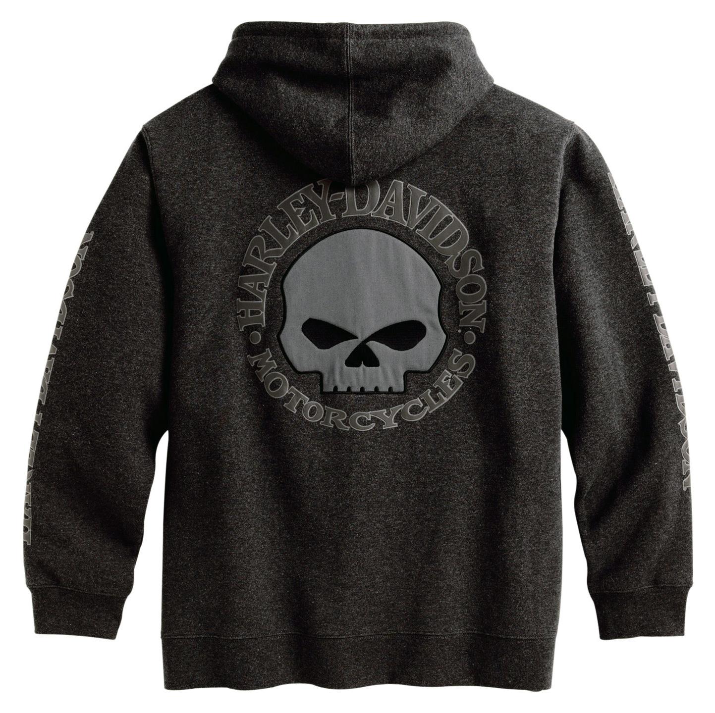 99107 18VM Harley Davidson Skull Zip Hoodie, grau im
