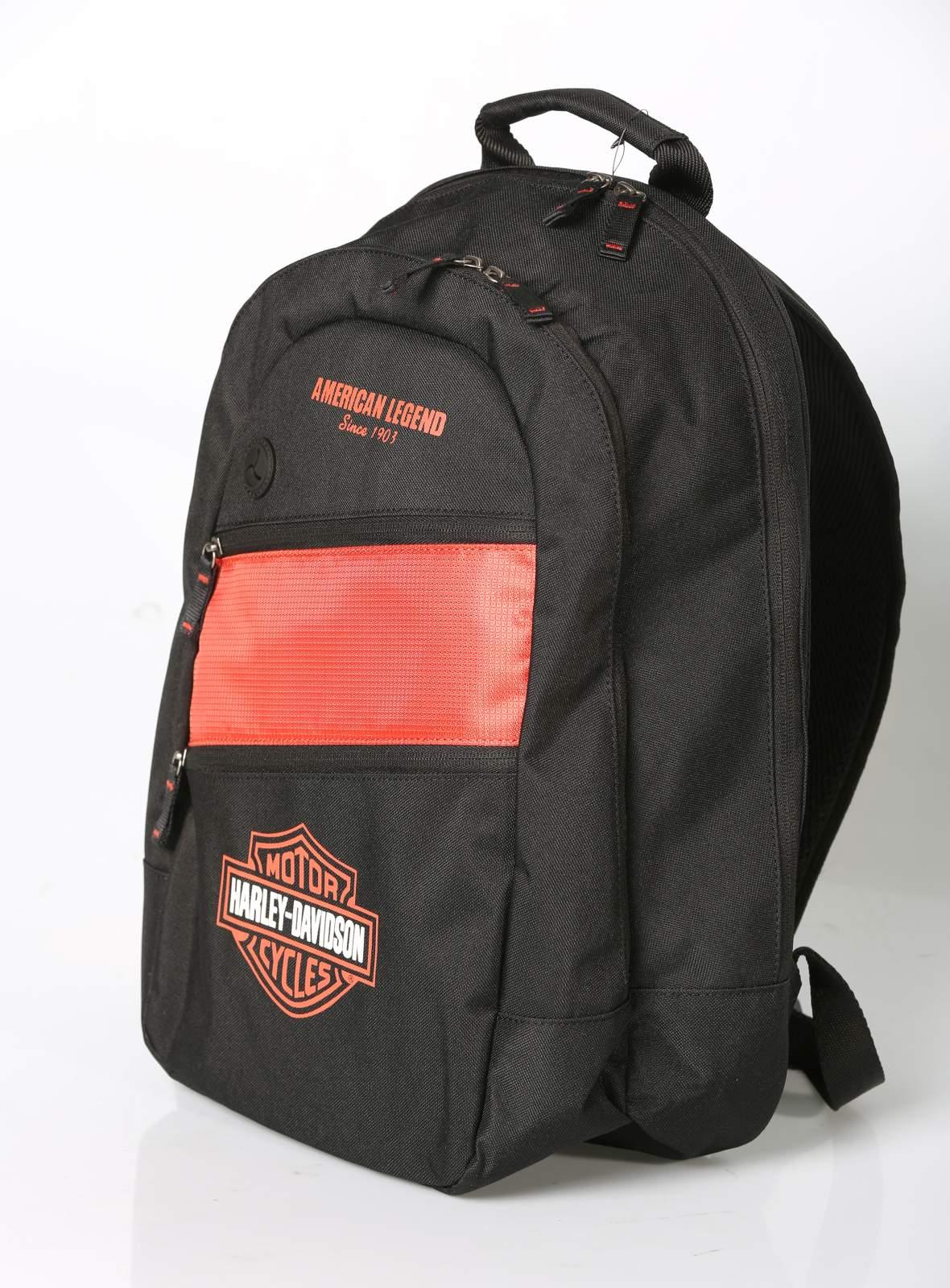 harley davidson rucksack day pack orange schwarz im. Black Bedroom Furniture Sets. Home Design Ideas