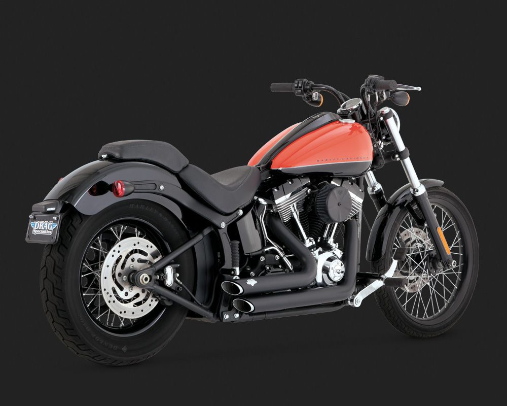Vance & Hines Shortshots Staggered black for H-D Softail 12-17