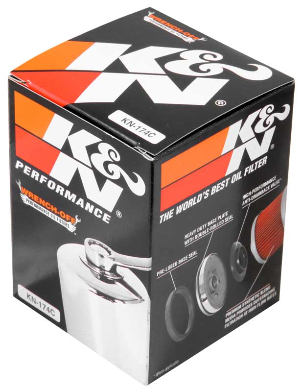 K /& N KN-170C Motorcycle//Offroad Engine Performance Gold Oil Filter Chrome