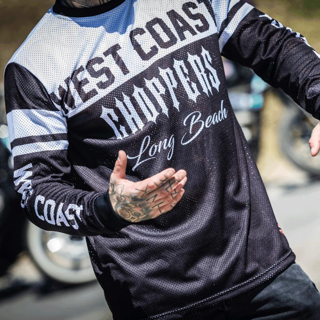 west coast choppers mesh jersey shirt schwarz weiss im. Black Bedroom Furniture Sets. Home Design Ideas