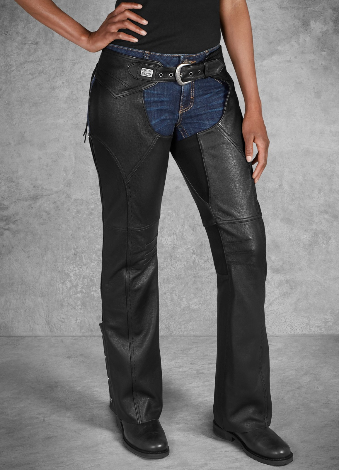 98046 19VW Harley Davidson Women's Leather Chaps Deluxe II