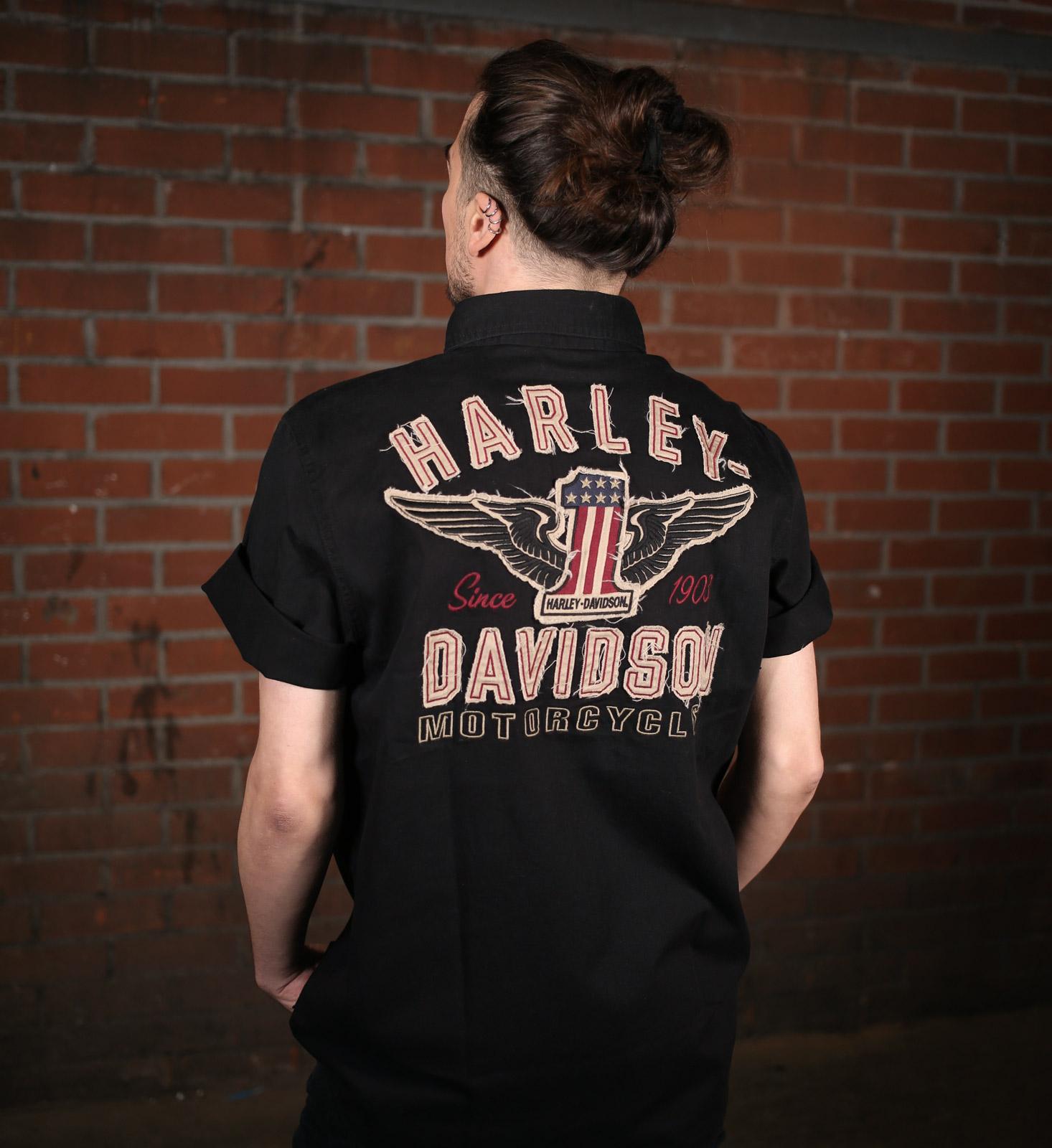 best website e4c50 33fb5 99036-15VM Harley-Davidson Hemd #1 Kurzarm, schwarz im ...